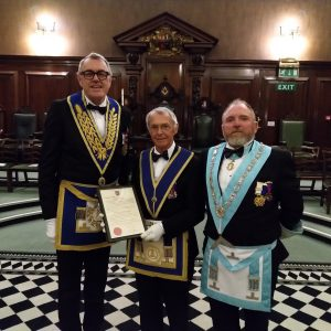 Enderby-Lodge-Presentation-50-years-certificate-Bob-Smith